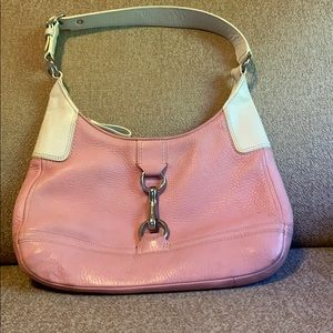 Pink and off white Authentic leather Coach purse